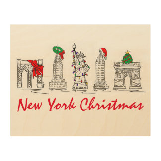 New York City Christmas NYC Landmarks Holiday Art