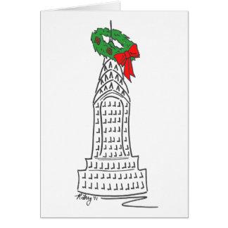 New York City Christmas NYC Skyscraper Wreath Card