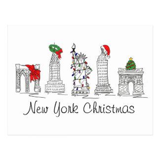 New York City Christmas NYC Xmas Holiday Landmarks Postcard