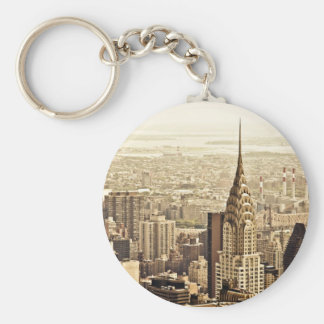 New York City - Chrysler Building Basic Round Button Key Ring