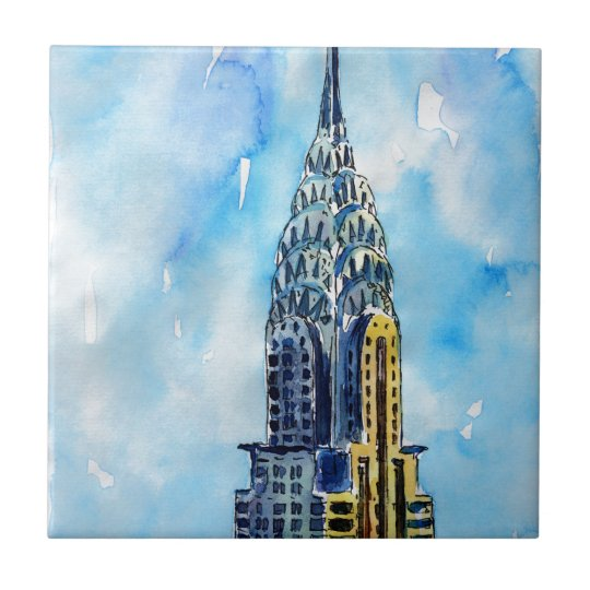 New York City Chrysler Building Small Square Tile