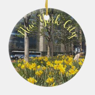 New York City Daffodils Columbus Circle NYC Spring Christmas Ornament
