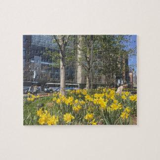 New York City Daffodils Columbus Circle NYC Spring Jigsaw Puzzle