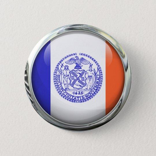 New York City Flag Glass Ball 6 Cm Round Badge