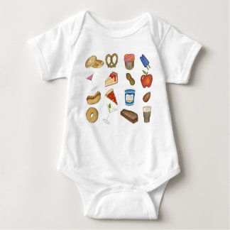 New York City Foodie NYC Foods Tourist Food Print Baby Bodysuit