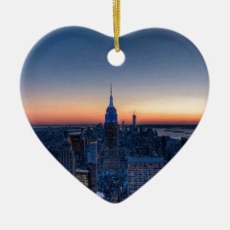 New York City from top of the Rockefeller Centre Ceramic Heart Decoration