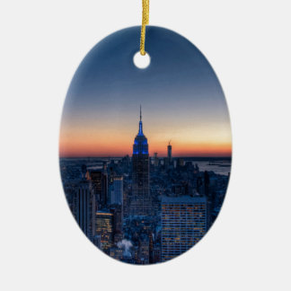 New York City from top of the Rockefeller Centre Ceramic Oval Decoration