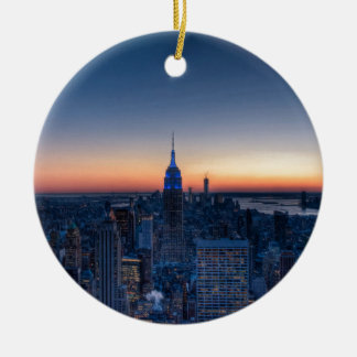 New York City from top of the Rockefeller Centre Round Ceramic Decoration