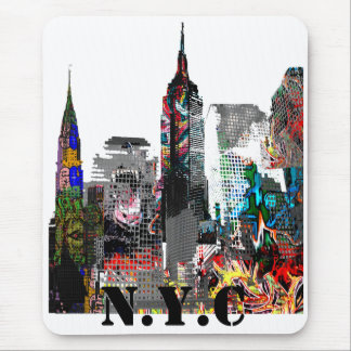 New York City graffiti skyline Mouse Mat