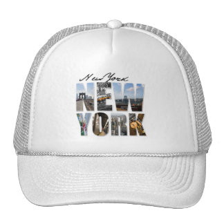 New York City Graphical Tourism Montage Mesh Hat