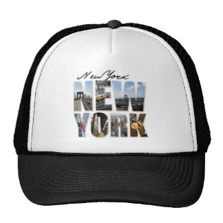 New York City Graphical Tourism Montage Trucker Hat