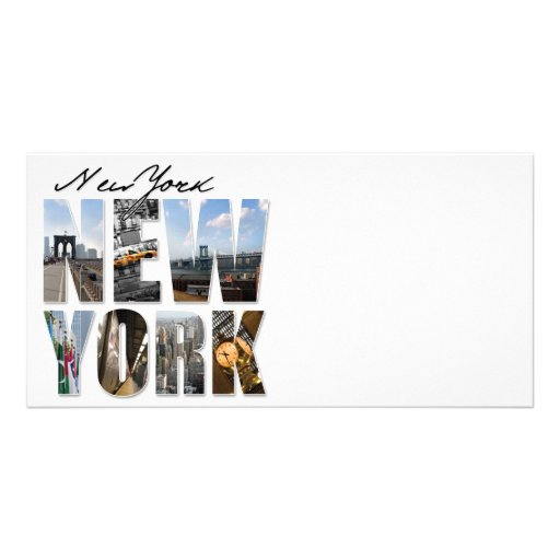 New York City Graphical Tourism Montage Photo Greeting Card