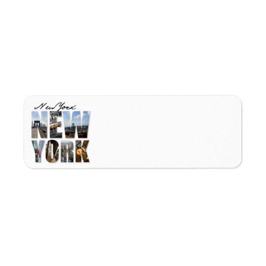 New York City Graphical Tourism Montage Return Address Label