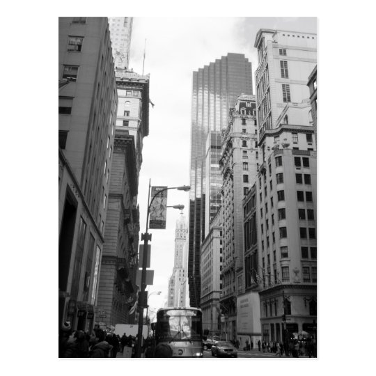 New York City Grayscale Photograph Postcard