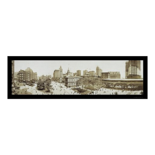 New York City Hall Park Photo 1911 Poster