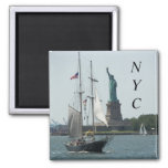 New York City Harbour Travel Photo Square Magnet