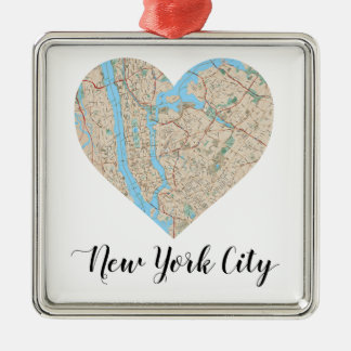 New York City Heart Map Silver-Colored Square Decoration