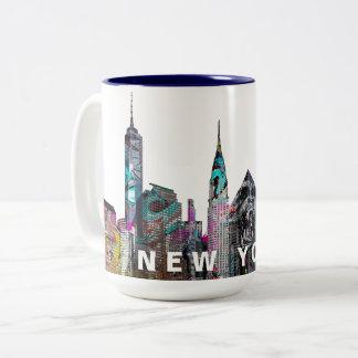 New York City  in graffiti Two-Tone Coffee Mug