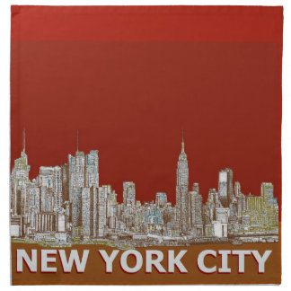 New York city in reds and browns Printed Napkins