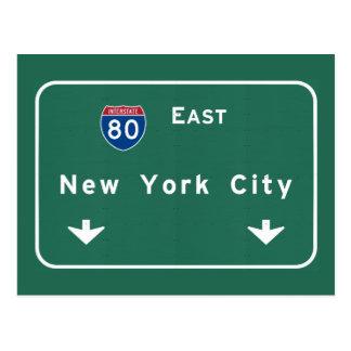 New York City Interstate Highway Freeway Road Sign Postcard