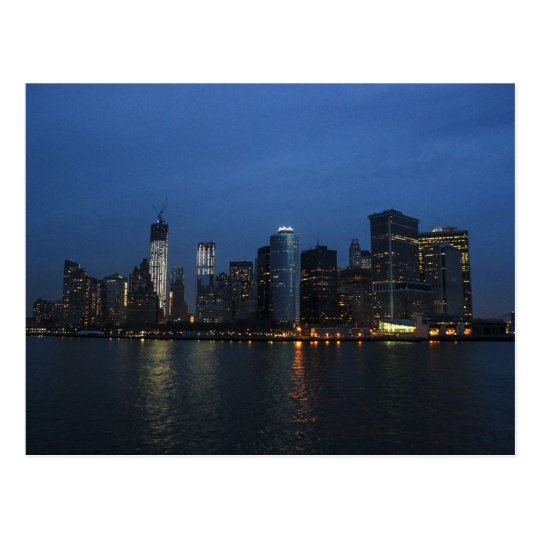 New York City Manhattan Night Skyline Postcard