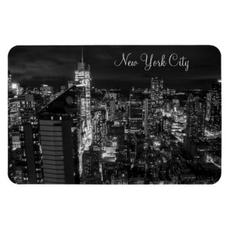 New York City Manhattan Skyline at Night Rectangular Photo Magnet