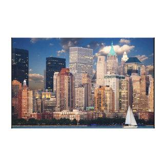 New York City Manhattan Skyline at Night Wall Art