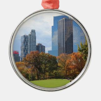 New York City Manhattan skyline panorama viewed fr Silver-Colored Round Decoration