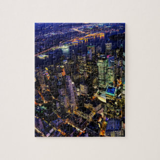 New York City, Manhattan, USA cityscape at night Jigsaw Puzzle