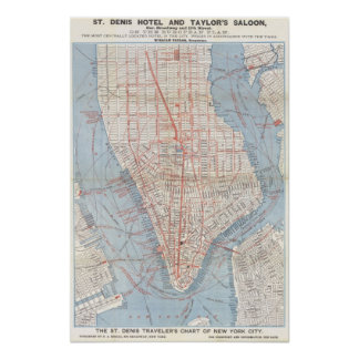 New York City Map 1879 Poster