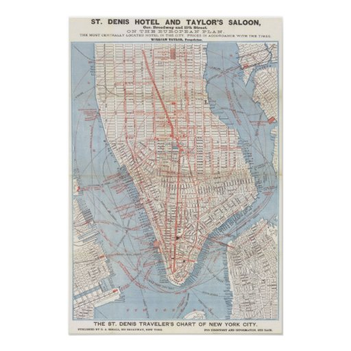 New York City Map 1879 Posters