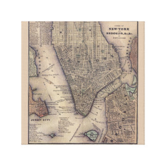 New York City Map Print Stretched Canvas Prints
