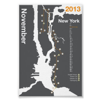 New York City Marathon Map Poster