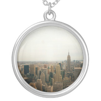 New York City Midtown Cityscape Round Pendant Necklace