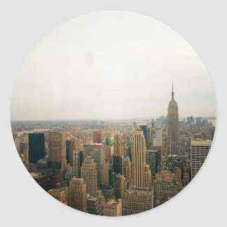 New York City Midtown Cityscape Round Sticker