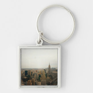 New York City Midtown Cityscape Silver-Colored Square Key Ring
