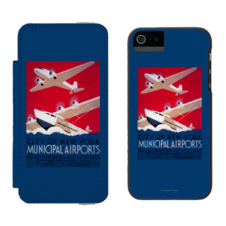 New York City Municipal Airport Vintage Poster Incipio Watson™ iPhone 5 Wallet Case