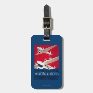 New York City Municipal Airport Vintage Poster Luggage Tag