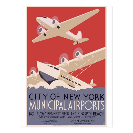 New York City Municipal Airports Postcard