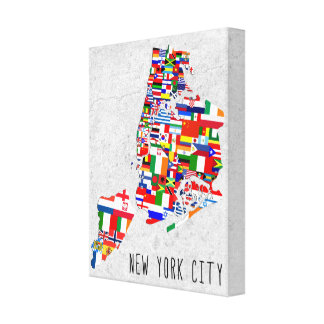 New York City Neighborhood Flags Canvas Art Gallery Wrapped Canvas