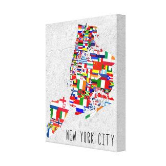 New York City Neighborhood Flags Canvas Art Gallery Wrapped Canvas