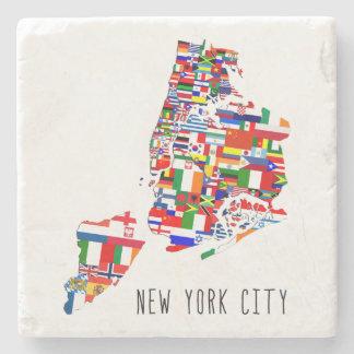 New York City Neighborhoods Flags Map Coaster