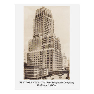 New York City, New Telephone Building old postcard