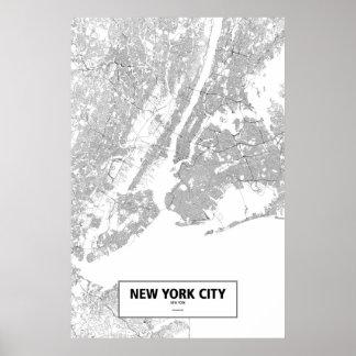 New York City, New York (black on white) Poster