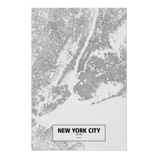New York City, New York (black on white) Poster