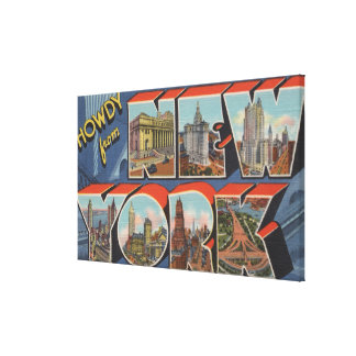 New York City, New York - Large Letter Scenes 2 Stretched Canvas Print
