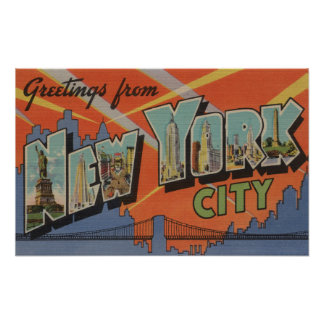 New York City, New York - Large Letter Scenes 3 Poster