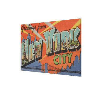 New York City, New York - Large Letter Scenes 4 Gallery Wrapped Canvas