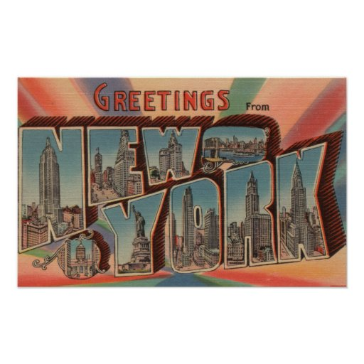 New York City, New York - Large Letter Scenes 4 Posters