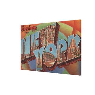 New York City, New York - Large Letter Scenes Canvas Prints